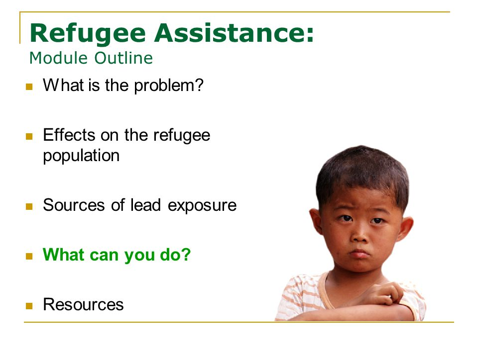 Refugee Assistance: Module Outline What is the problem.