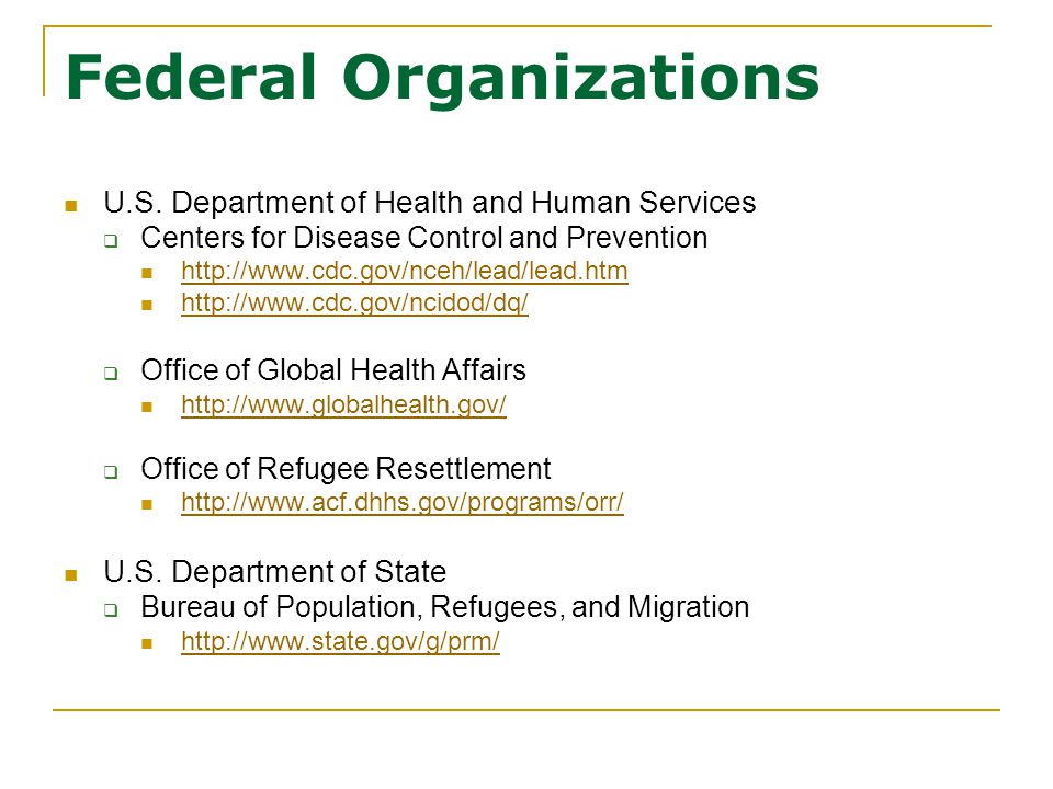 Federal Organizations U.S. Department of Health and Human Services  Centers for Disease Control and Prevention http://www.cdc.gov/nceh/lead/lead.htm