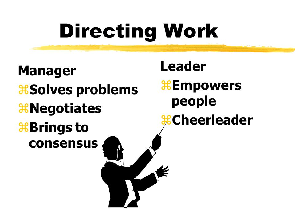 Directing Work Manager zSolves problems zNegotiates zBrings to consensus Leader z Empowers people z Cheerleader