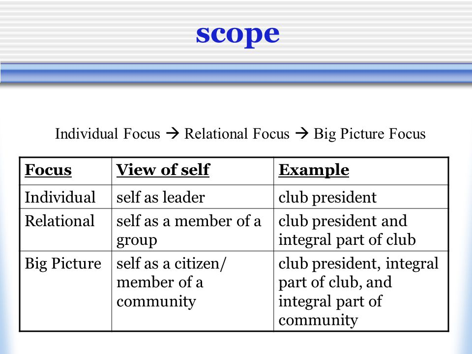 scope Individual Focus  Relational Focus  Big Picture Focus FocusView of selfExample Individualself as leaderclub president Relationalself as a member of a group club president and integral part of club Big Pictureself as a citizen/ member of a community club president, integral part of club, and integral part of community