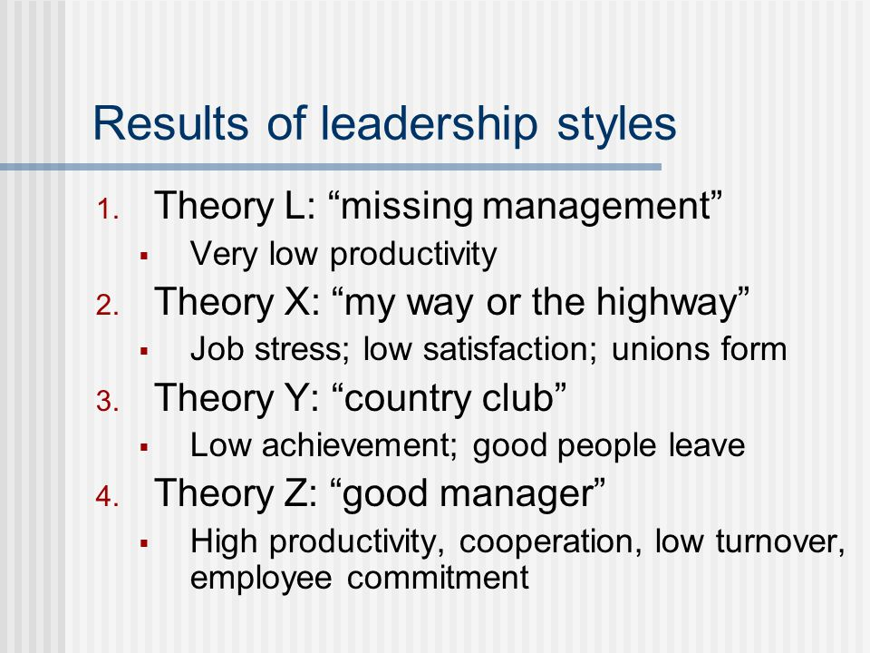 Results of leadership styles 1.Theory L: missing management  Very low productivity 2.