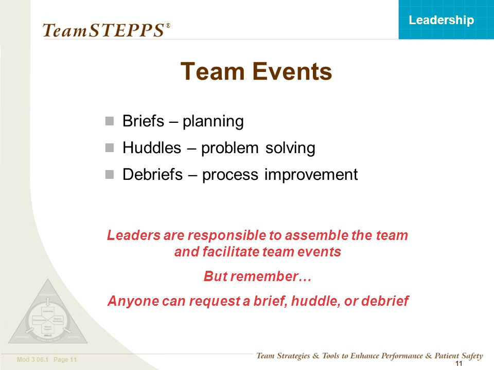 T EAM STEPPS 05.2 Mod 3 06.1 Page 11 Leadership ® 11 Team Events Briefs – planning Huddles – problem solving Debriefs – process improvement Leaders are responsible to assemble the team and facilitate team events But remember… Anyone can request a brief, huddle, or debrief