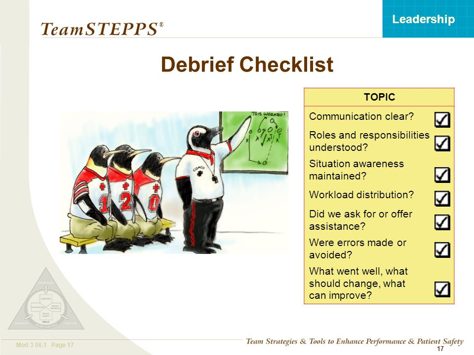 T EAM STEPPS 05.2 Mod 3 06.1 Page 17 Leadership ® 17 TOPIC Communication clear.