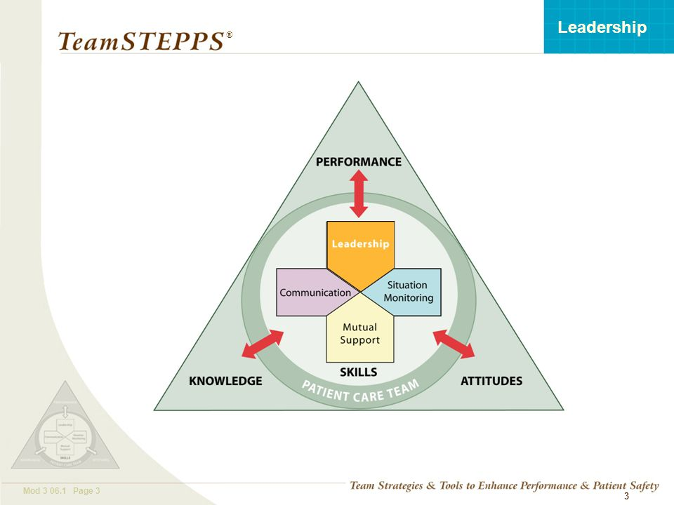 T EAM STEPPS 05.2 Mod 3 06.1 Page 3 Leadership ® 3