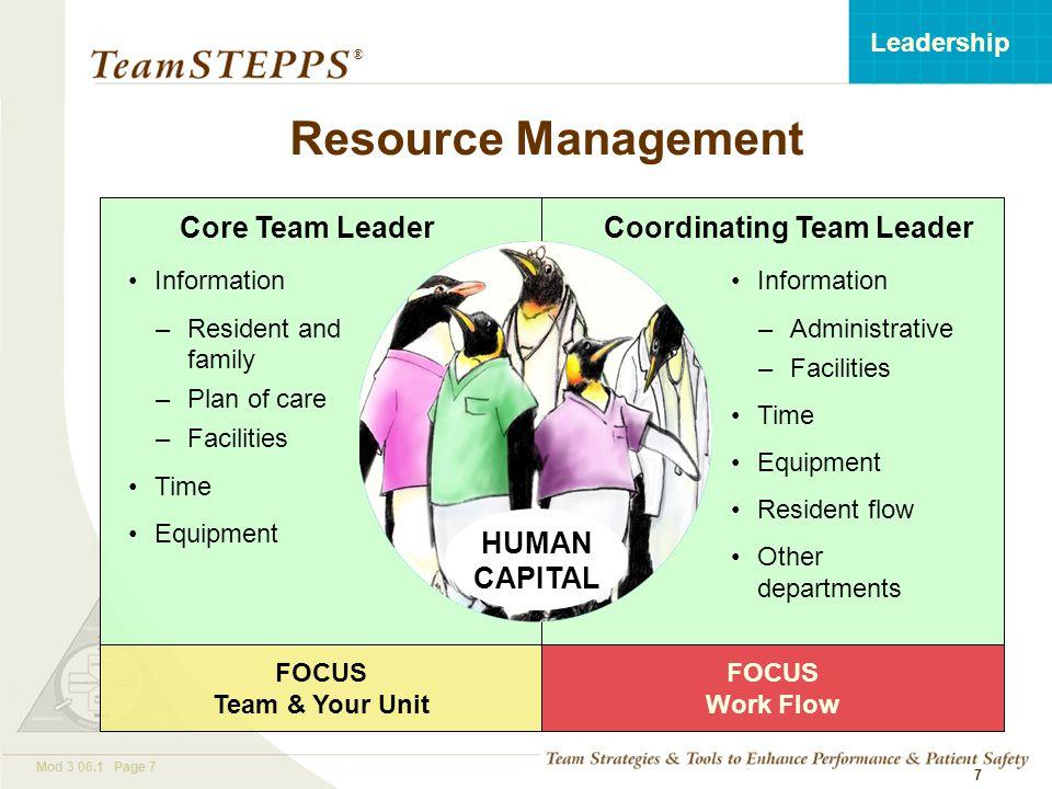 T EAM STEPPS 05.2 Mod 3 06.1 Page 18 Leadership ® 18 Debrief