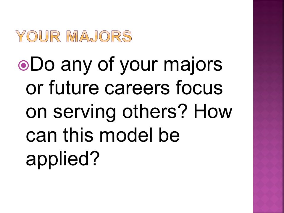  Do any of your majors or future careers focus on serving others How can this model be applied