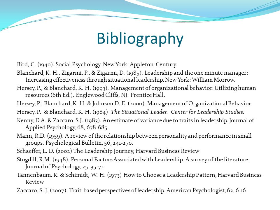 Bibliography Bird, C. (1940). Social Psychology.