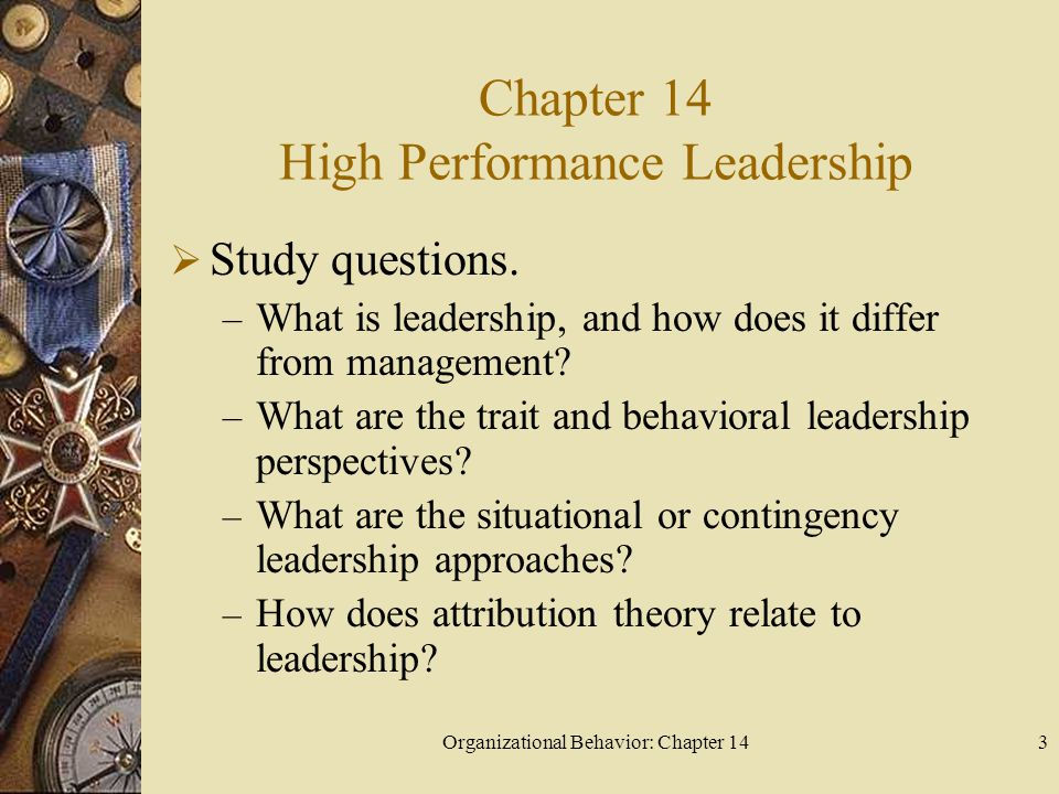 Organizational Behavior: Chapter 1414 What are the trait and behavioral leadership perspectives.
