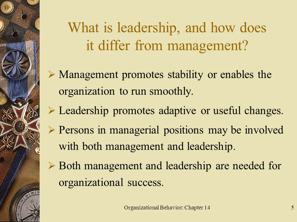Organizational Behavior: Chapter 146 What is leadership, and how does it differ from management.