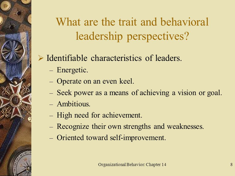 Organizational Behavior: Chapter 149 What are the trait and behavioral leadership perspectives.