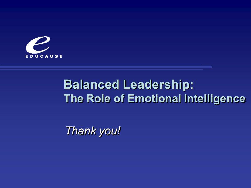 Balanced Leadership: The Role of Emotional Intelligence Thank you!