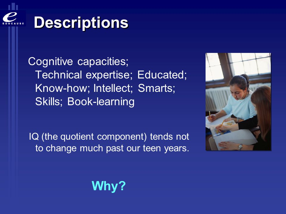 Descriptions Cognitive capacities; Technical expertise; Educated; Know-how; Intellect; Smarts; Skills; Book-learning IQ (the quotient component) tends