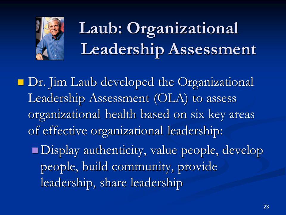 Laub: Organizational Leadership Assessment Laub: Organizational Leadership Assessment Dr. Jim Laub developed the Organizational Leadership Assessment