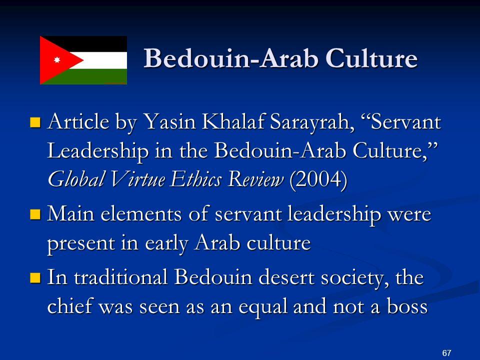"Bedouin-Arab Culture Bedouin-Arab Culture Article by Yasin Khalaf Sarayrah, ""Servant Leadership in the Bedouin-Arab Culture,"" Global Virtue Ethics Rev"