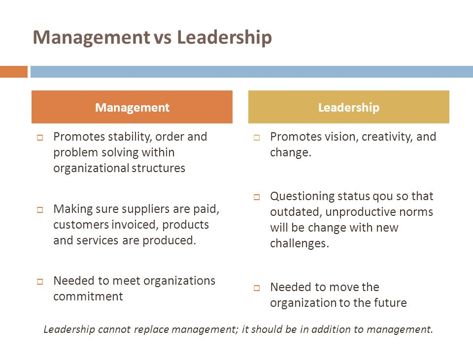 Management vs Leadership  Promotes stability, order and problem solving within organizational structures  Making sure suppliers are paid, customers