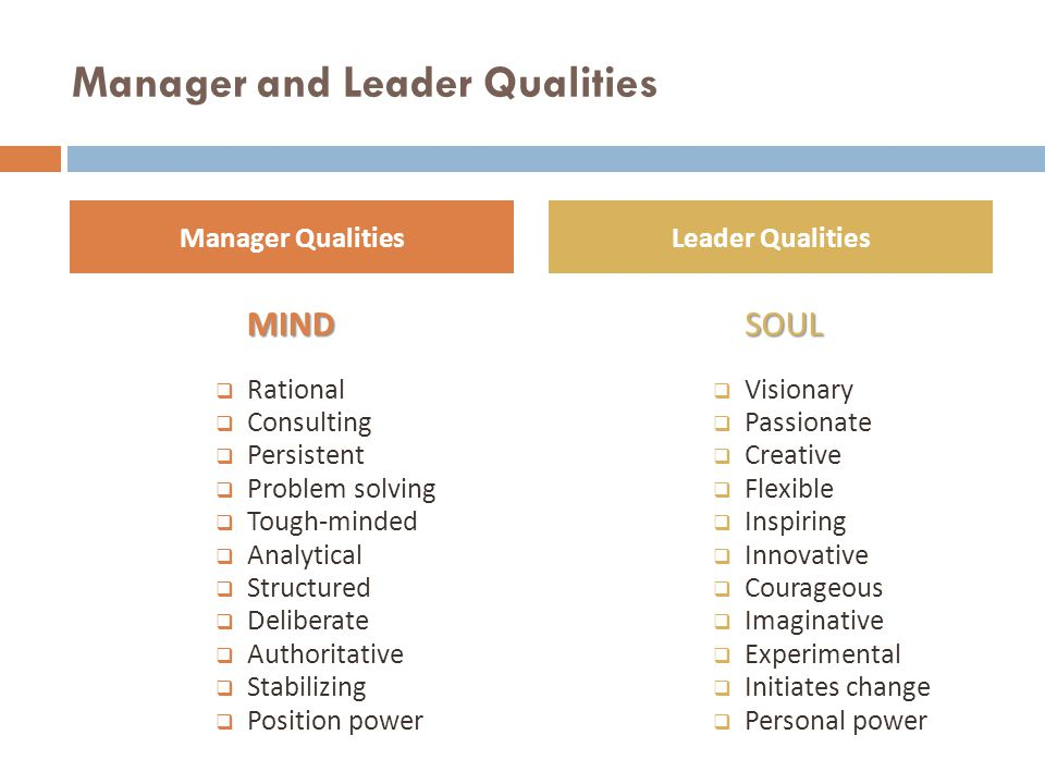Manager and Leader Qualities MIND  Rational  Consulting  Persistent  Problem solving  Tough-minded  Analytical  Structured  Deliberate  Autho
