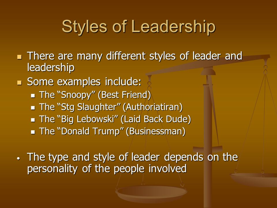 Styles of Leadership There are many different styles of leader and leadership There are many different styles of leader and leadership Some examples i