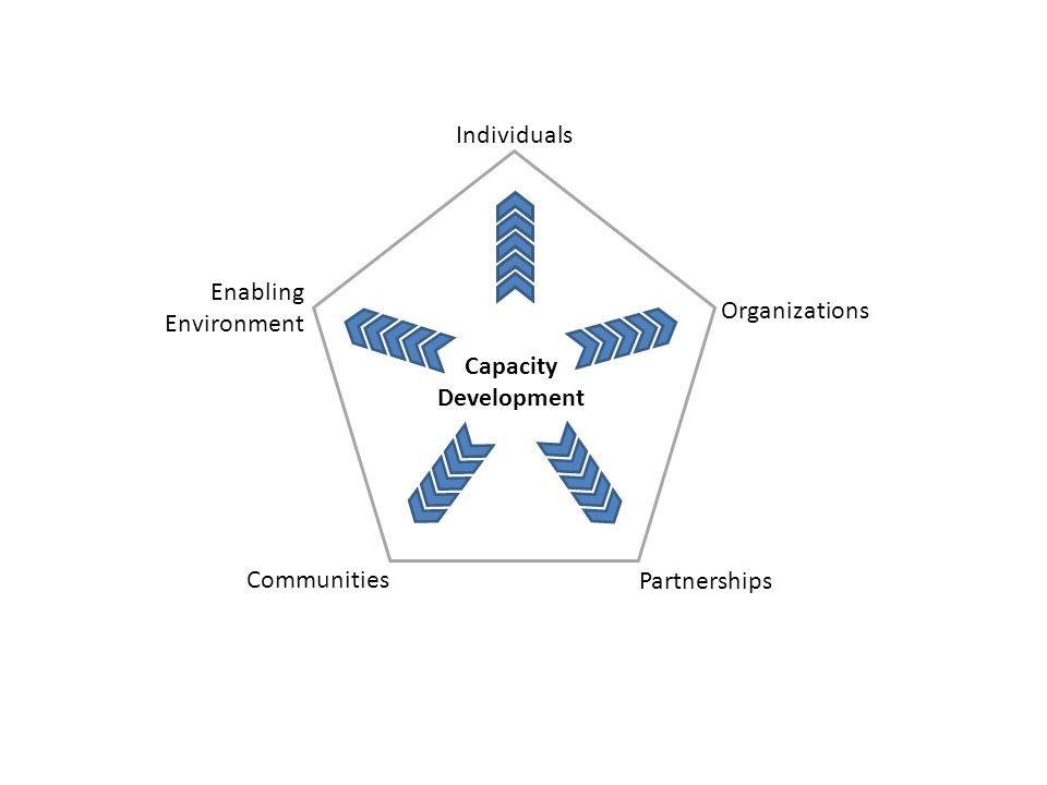 Individuals Organizations Partnerships Enabling Environment Communities Capacity Development