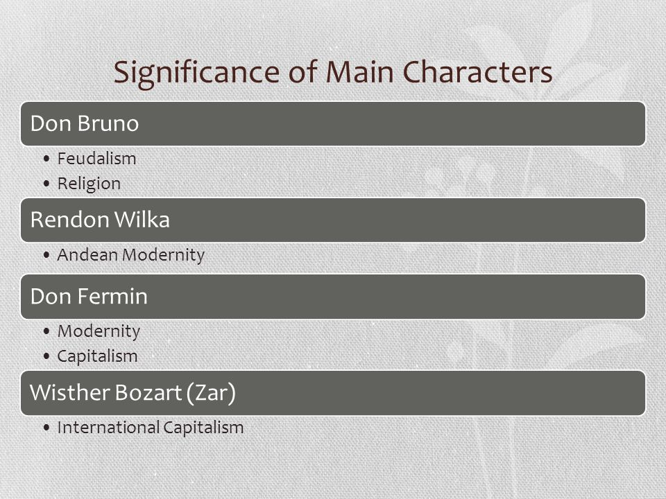 Significance of Main Characters Don Bruno Feudalism Religion Rendon Wilka Andean Modernity Don Fermin Modernity Capitalism Wisther Bozart (Zar) International Capitalism