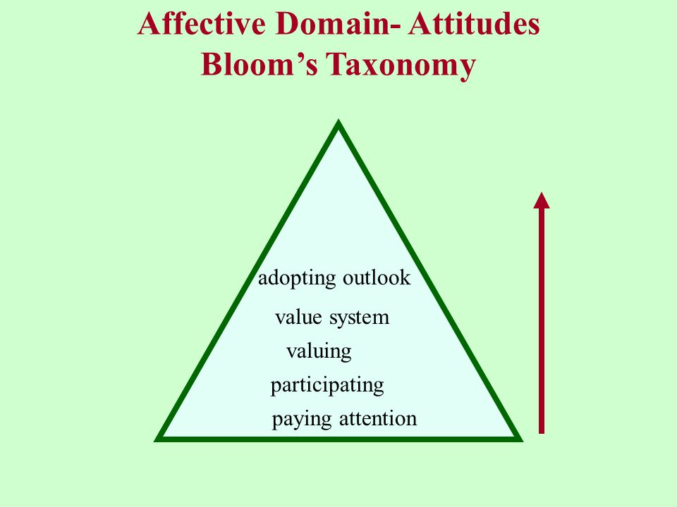 Affective Domain- Attitudes Bloom's Taxonomy paying attention participating valuing value system adopting outlook