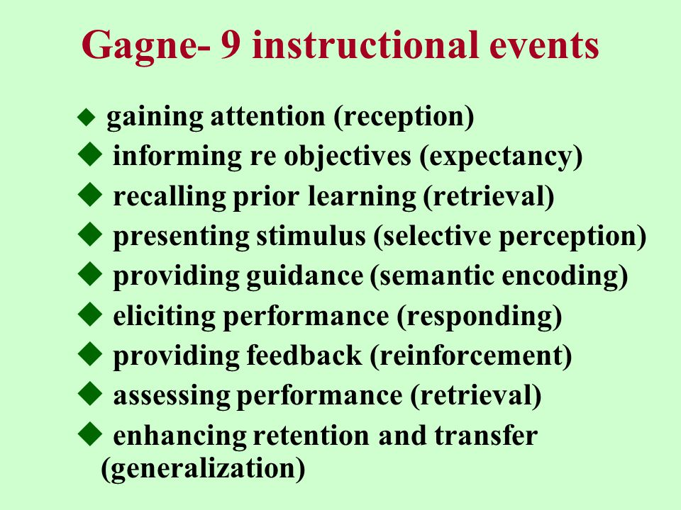 Gagne- 9 instructional events  gaining attention (reception)  informing re objectives (expectancy)  recalling prior learning (retrieval)  presenting stimulus (selective perception)  providing guidance (semantic encoding)  eliciting performance (responding)  providing feedback (reinforcement)  assessing performance (retrieval)  enhancing retention and transfer (generalization)