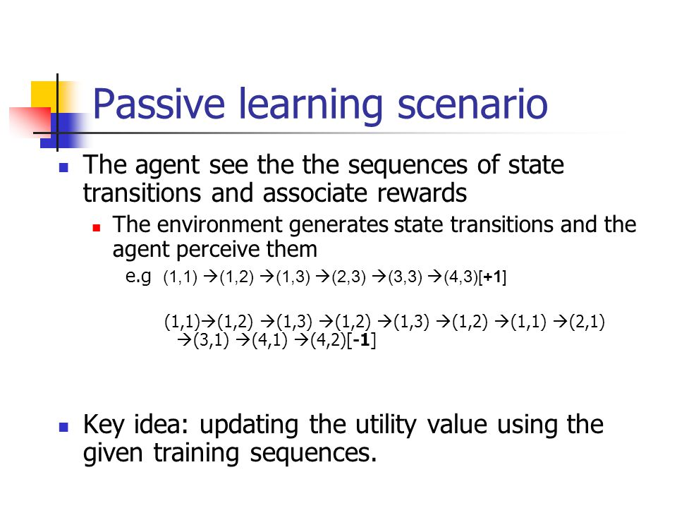 Passive learning scenario The agent see the the sequences of state transitions and associate rewards The environment generates state transitions and t