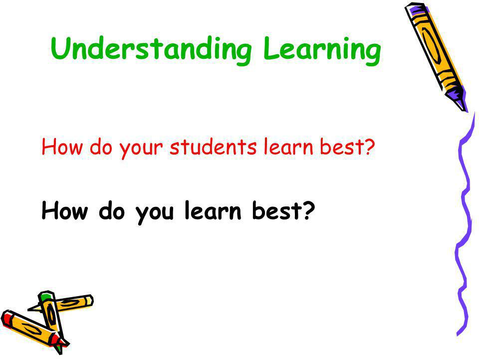 Understanding Learning How do your students learn best? How do you learn best?