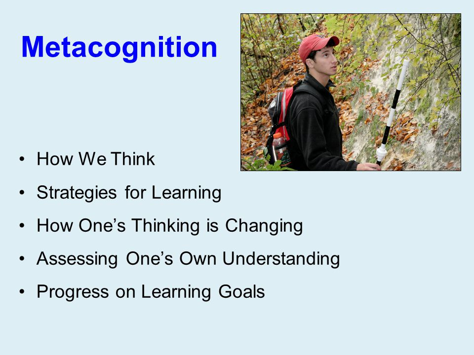 Metacognition How We Think Strategies for Learning How One's Thinking is Changing Assessing One's Own Understanding Progress on Learning Goals