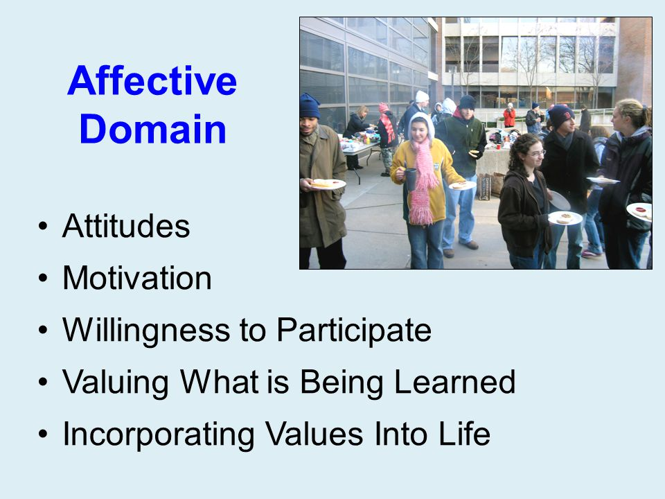 Affective Domain Attitudes Motivation Willingness to Participate Valuing What is Being Learned Incorporating Values Into Life