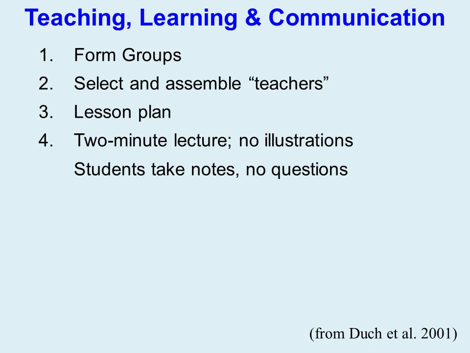 """Teaching, Learning & Communication 1.Form Groups 2.Select and assemble """"teachers"""" 3.Lesson plan 4.Two-minute lecture; no illustrations Students take n"""