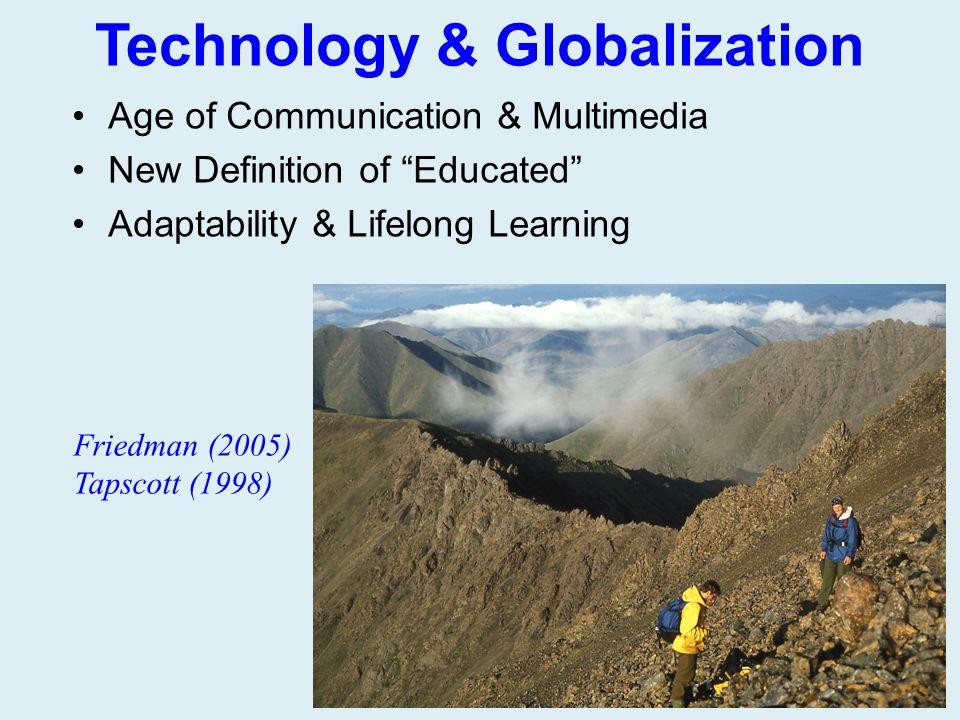 "Technology & Globalization Age of Communication & Multimedia New Definition of ""Educated"" Adaptability & Lifelong Learning Friedman (2005) Tapscott (1"