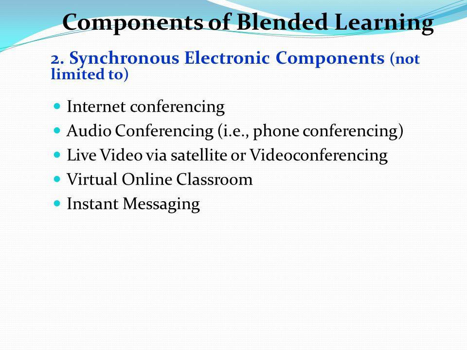 Components of Blended Learning Internet conferencing Audio Conferencing (i.e., phone conferencing) Live Video via satellite or Videoconferencing Virtu