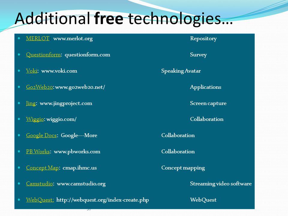 Additional free technologies… MERLOT: www.merlot.org Repository MERLOT Questionform: questionform.com Survey Questionform Voki: www.voki.com Speaking