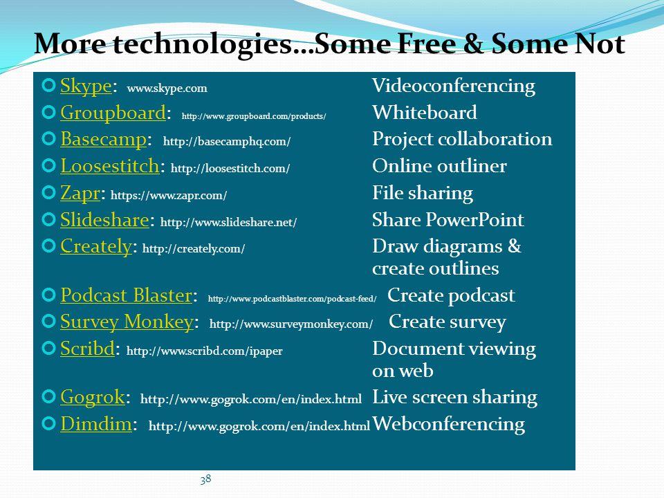 More technologies…Some Free & Some Not SkypeSkype: www.skype.com Videoconferencing GroupboardGroupboard: http://www.groupboard.com/products/ Whiteboar
