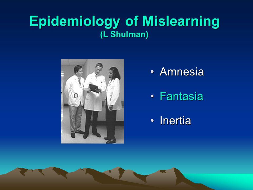 Epidemiology of Mislearning (L Shulman) AmnesiaAmnesia FantasiaFantasia InertiaInertia