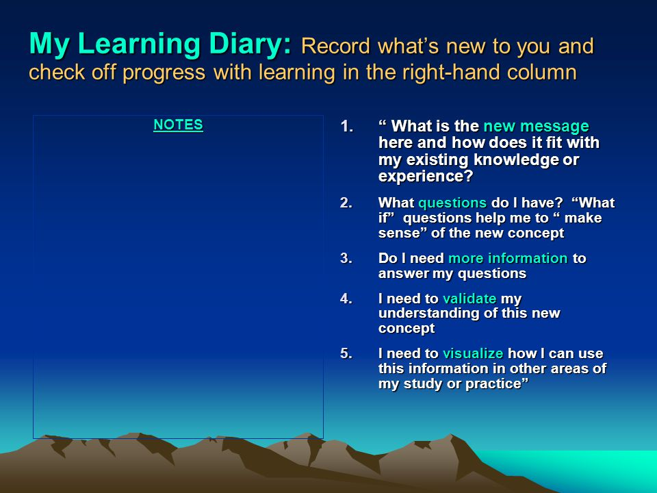 My Learning Diary: Record what's new to you and check off progress with learning in the right-hand column NOTES 1. What is the new message here and how does it fit with my existing knowledge or experience.