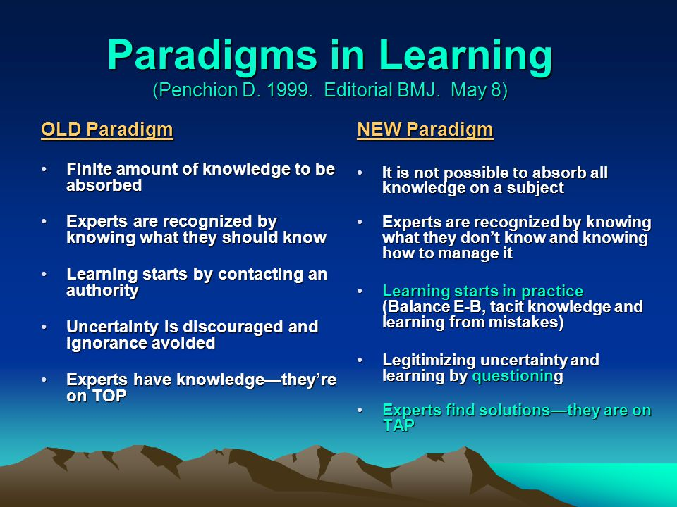 Paradigms in Learning (Penchion D.1999. Editorial BMJ.