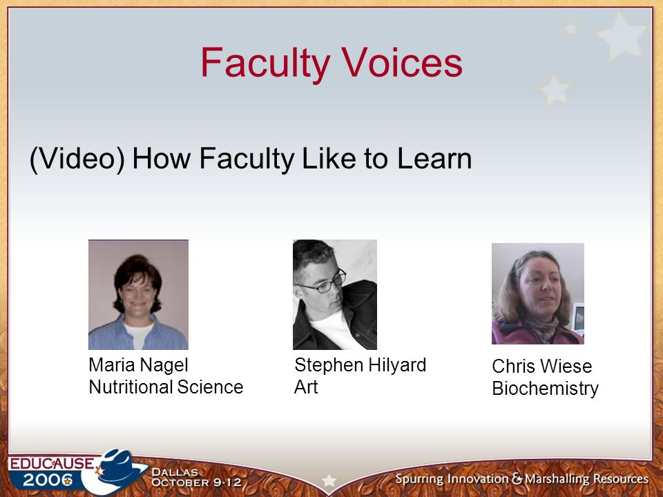 Faculty Voices (Video) How Faculty Like to Learn Maria Nagel Nutritional Science Stephen Hilyard Art Chris Wiese Biochemistry