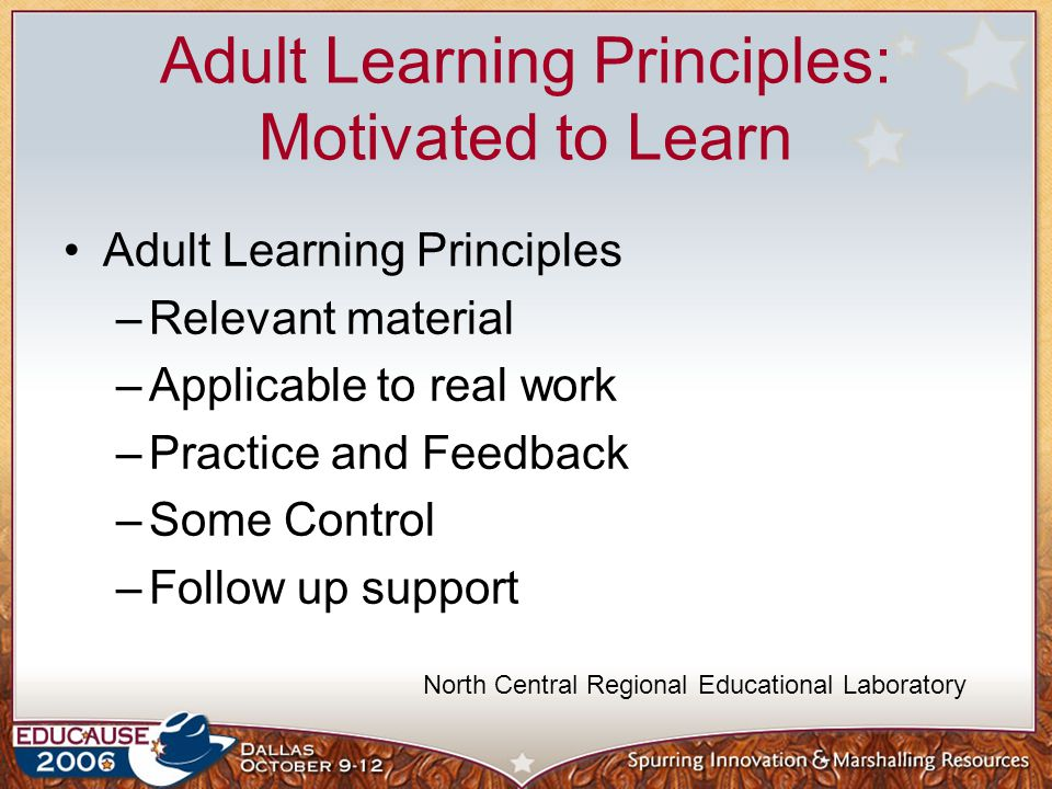 Adult Learning Principles: Motivated to Learn Adult Learning Principles –Relevant material –Applicable to real work –Practice and Feedback –Some Control –Follow up support North Central Regional Educational Laboratory