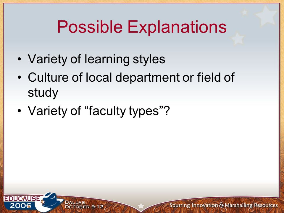 A funny thing happened on the way… 2005 and 2006 gave same survey to faculty and students Role and affiliation Interesting group, faculty with student roles and students with faculty roles How did we find out.