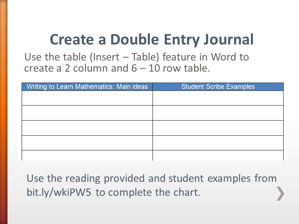 Use the table (Insert – Table) feature in Word to create a 2 column and 6 – 10 row table. Create a Double Entry Journal Use the reading provided and s