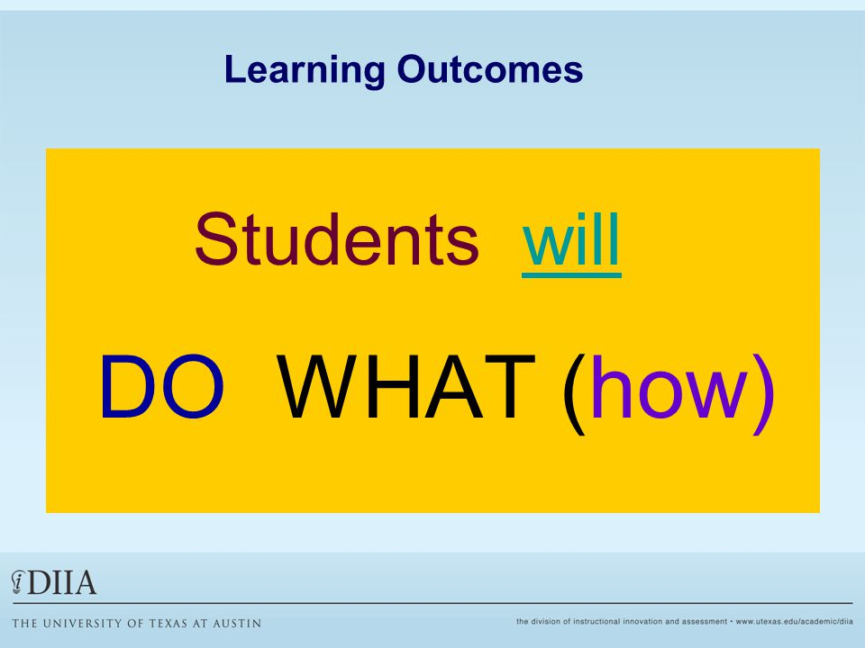 Learning Outcomes Students will DO WHAT (how)