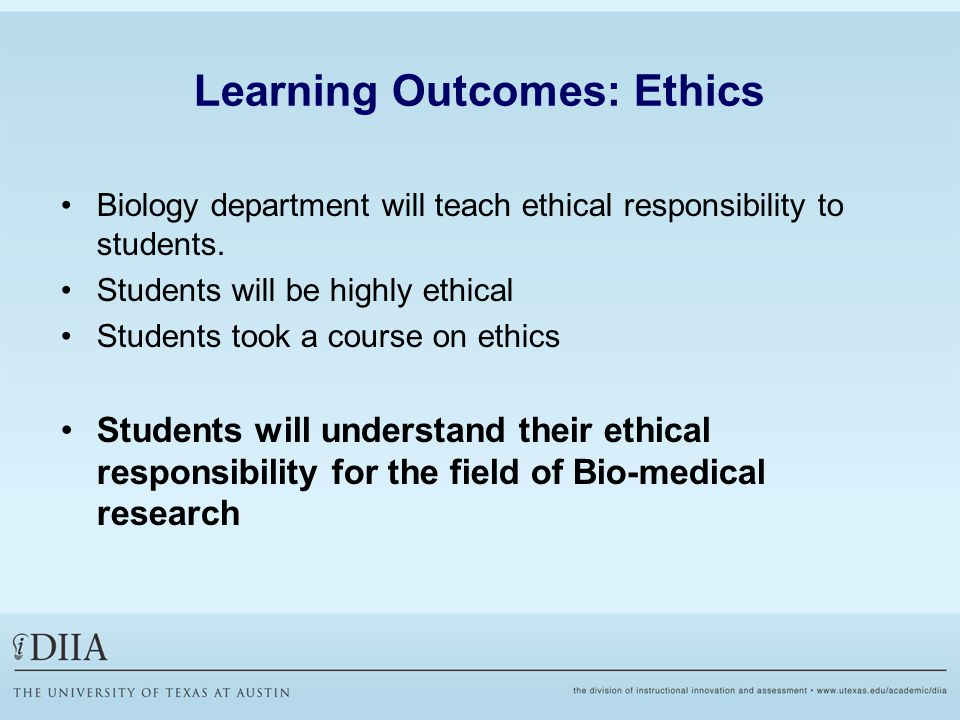 Learning Outcomes: Ethics Biology department will teach ethical responsibility to students.