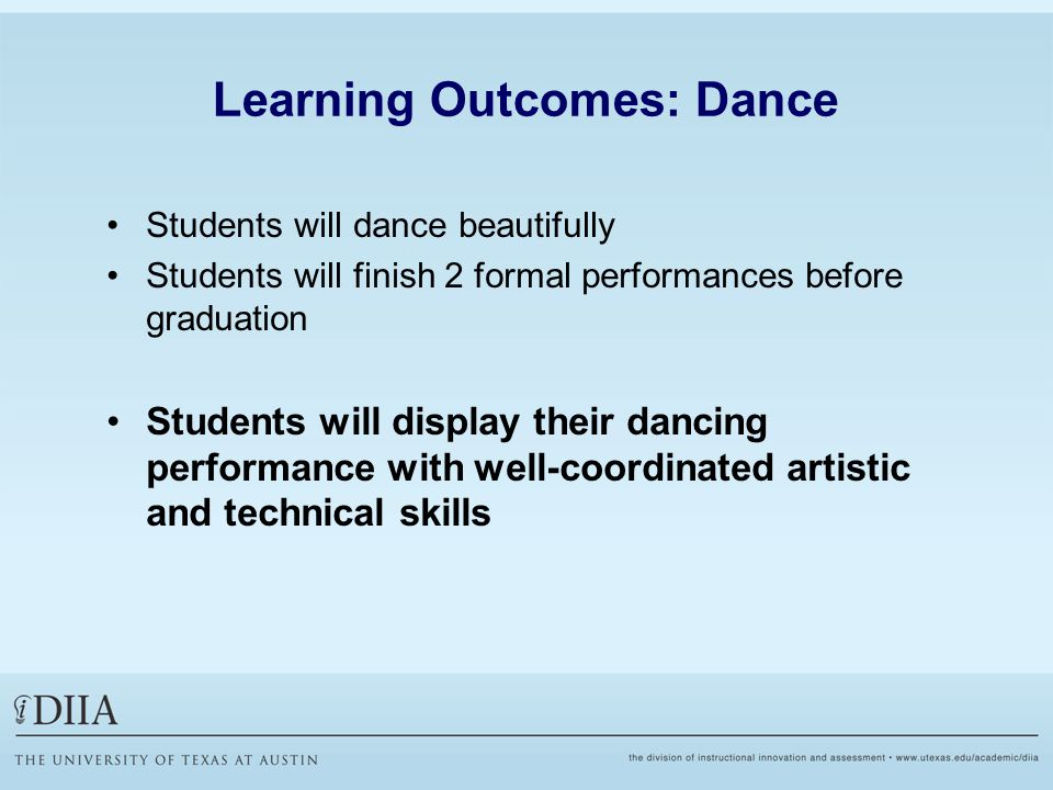 Learning Outcomes: Dance Students will dance beautifully Students will finish 2 formal performances before graduation Students will display their dancing performance with well-coordinated artistic and technical skills