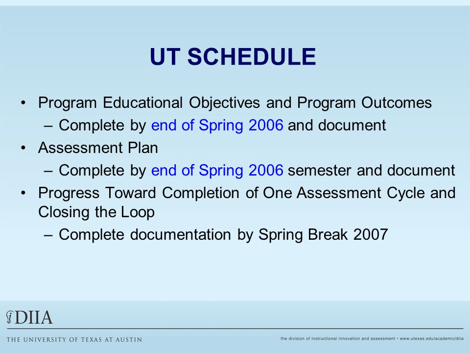 UT SCHEDULE Program Educational Objectives and Program Outcomes –Complete by end of Spring 2006 and document Assessment Plan –Complete by end of Spring 2006 semester and document Progress Toward Completion of One Assessment Cycle and Closing the Loop –Complete documentation by Spring Break 2007