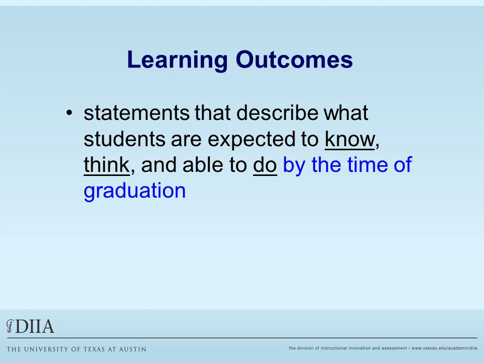 Learning Outcomes statements that describe what students are expected to know, think, and able to do by the time of graduation