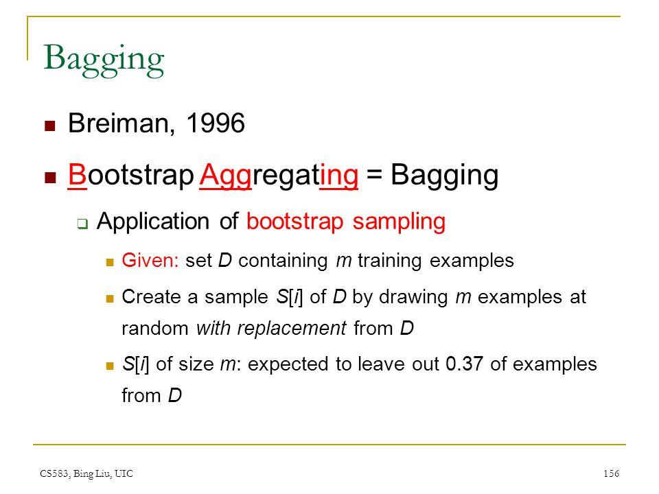 CS583, Bing Liu, UIC 156 Bagging Breiman, 1996 Bootstrap Aggregating = Bagging  Application of bootstrap sampling Given: set D containing m training