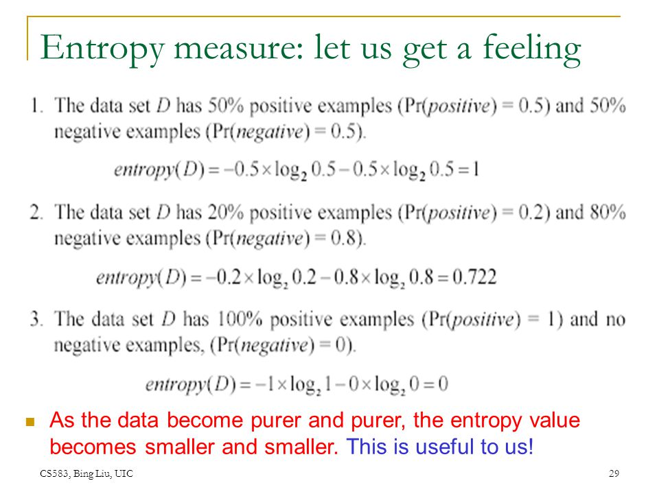 CS583, Bing Liu, UIC 29 Entropy measure: let us get a feeling As the data become purer and purer, the entropy value becomes smaller and smaller. This