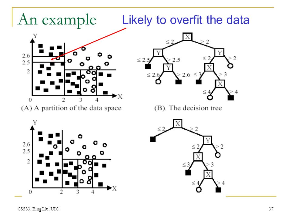 CS583, Bing Liu, UIC 37 An example Likely to overfit the data