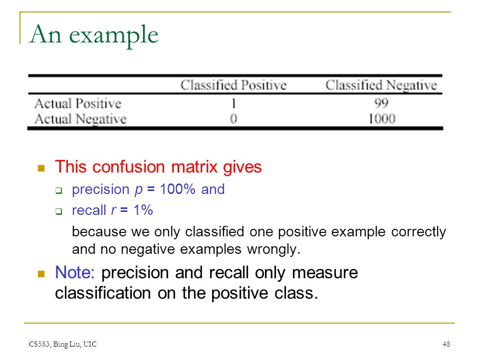 CS583, Bing Liu, UIC 48 An example This confusion matrix gives  precision p = 100% and  recall r = 1% because we only classified one positive exampl